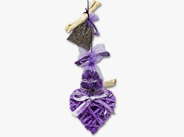Catena con cuore viola in legno